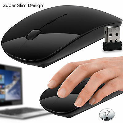 BLACK 2.4GHz Wireless Cordless Optical Scroll Mouse USB Dongle Computer Laptop