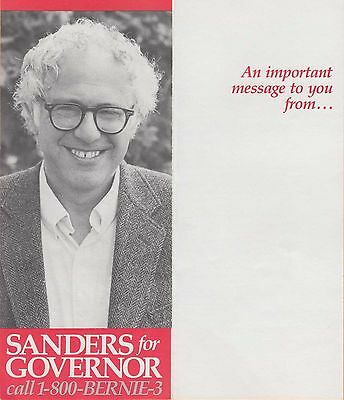 Bernie Sanders For Vermont Governor ~ Very Rare 1968 One-Page Brochure