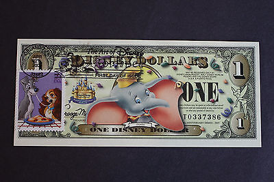 "2005 ""Dumbo"" $1 DISNEY DOLLAR with STAMP FIRST DAY ISSUE CANCELLED NOTE"
