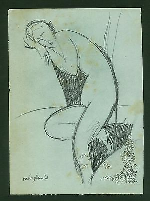 AMEDEO MODIGLIANI - DRAWING ON ORIGINAL PAPER OF THE '10s -