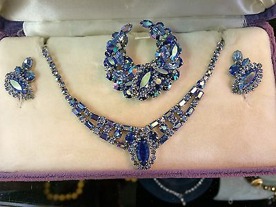 gorgeous earrings necklace brooch crystal Sherman set and original bill and case