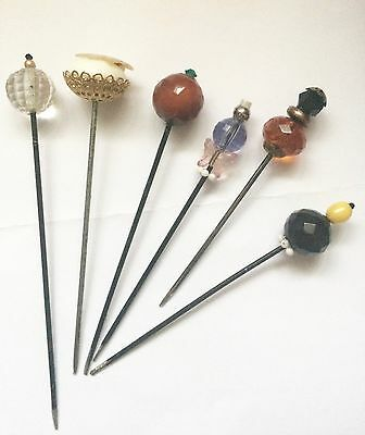 Six Large Vintage Hat Pins. Lovely Vintage Beads .