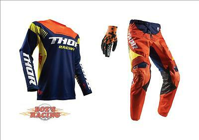 2017 Thor Racing Fuse Propel Navy, Yellow, Red Orange  Jersey, Pant, Glove Combo
