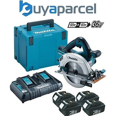 Makita DHS710ZJ Twin 18v 36v 185mm Scie Circulaire LXT + 4x 3.0ah,Chargeur+