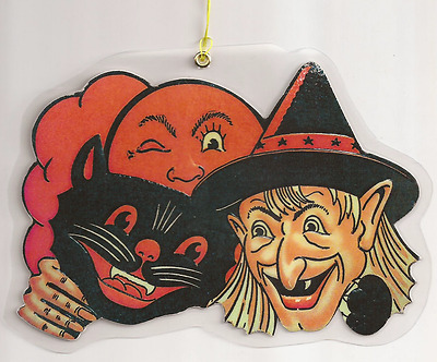 Halloween Decorations Witch Cat and Moon, Hand Die Cut, Laminate, Plasticized