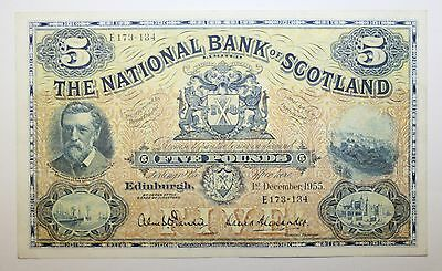 1955 National Bank of Scotland £5.00 Scottish Banknote Extremely Fine Condition