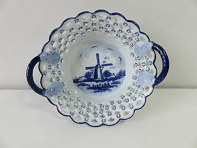 Vintage DELFT BLUE BOWL w/ Handles & Cut Outs Holland Wildmill Ceramic