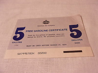 Vintage AMOCO American Oil Company FREE 5 Gallons GASOLINE CERTIFICATE 1974