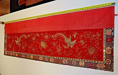 19th C. Qing [Ching]  Dynasty Silk Embroidered Phoenix Altar Panel
