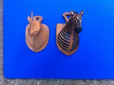 Vintage African Animal Heads - Hand Carved as Miniature Trophies - 100mm High.