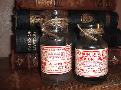 Vintage GLASS Poison Chemist Pharmacy Apothecary label BOTTLES goth prop x 2