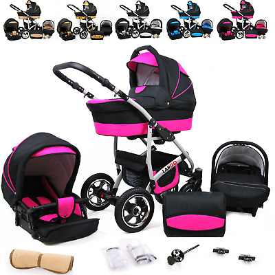 Baby Pram 3in1 Pushchair Stroller Car Seat Carrycot Combi Travel System Buggy
