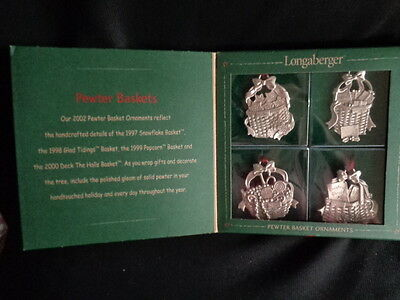 2002 Longaberger Pewter Baskets Ornaments set of 4 MIB Made in the USA