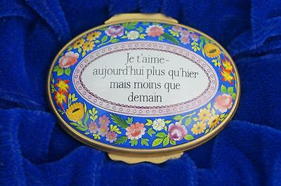 HALCYON DAYS Enamel EGG Box JE T'AIME (I LOVE YOU) MINT & Boxed