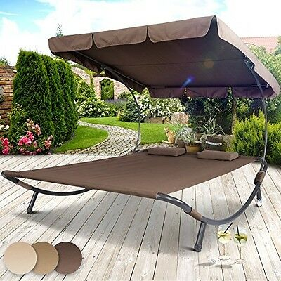 Sun Lounger Double Day Bed Hammock Chaise Outdoor Shade Canopy Garden Furniture