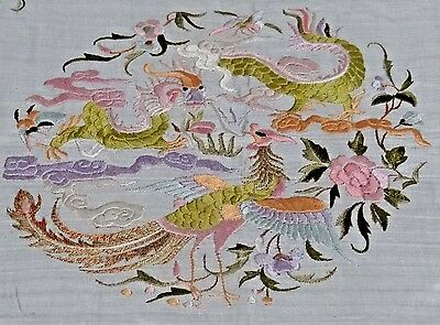Early 20th Chinese Silk Embroidered Dragon and Phoenix Pillow Cover