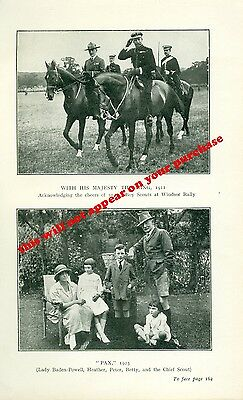 Scouting. Baden-Powell.  BP.  1924  with his family and the King