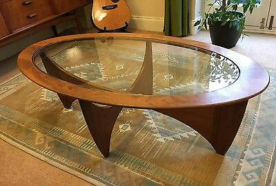 G Plan Astro solid teak glass top coffee table, mid-century