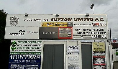 Sutton United V Arsenal Programme + Photographs. Fa Cup Rd 5