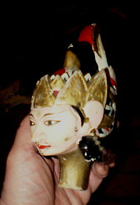 Vintage Carved Wooden Asian Puppet Head