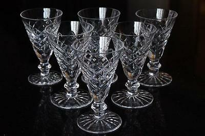 """SET of 6 WATERFORD CRYSTAL 4 3/8"""" SHERRY/Madeira/Port Wine Glasses ADARE Signed"""