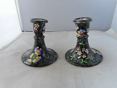"PAIR OF COPELAND SPODE""SLATE 2""CANDLESTICKS-9cms high and 9cms diameter at base"