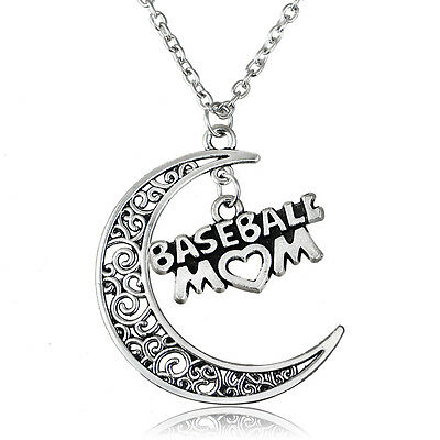 Fashion New Baseball Mom Charm Vintage Necklace Pendant Gift Women Moon Hollow