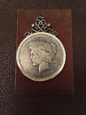 1924 Silver Peace One Dollar With Crown Mount