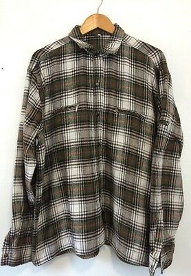 "Vintage 90s Mens Flannel Shirt Green Red Check Lumberjack XL 44"" Retro Indie"