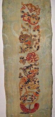 19th C. Qing [Ching] [Ch'ing] D. Chinese Silk Embroidered Sleeve Band/Panel