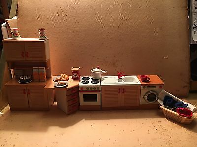 Wooden Dolls House Kitchen - 6 Pieces Of Furniture Plus Accessories - Vgc- 3inch