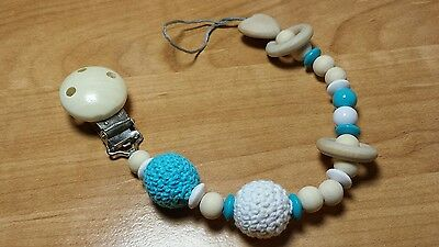 Baby pacifier holder  clip dummy toy holder wooden crochet beads shower gift