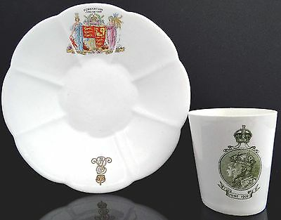King Edward Vii & Queen Mary Coronation Dinner Royal Doulton Cup & Foley Plate