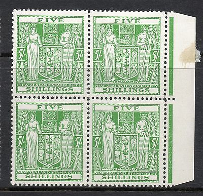 New Zealand 1940-58 Post Fiscal Sg195 5/- Green - Marginal Block Of 4 Mint