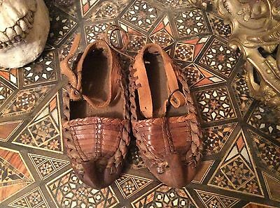 Genuine Rare Antique  baby/Child Leather Moccasin Shoes
