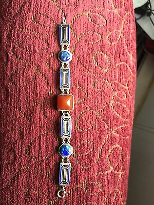 Art Deco Enameled Bracelet With Blue Stones And Carnelian (?) Center