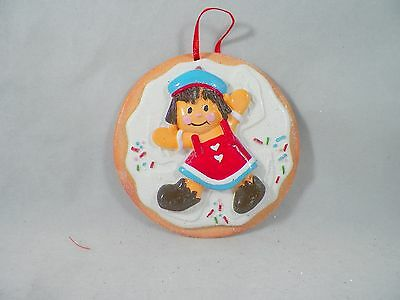 Gingerbread Girl on Sugar Cookie Christmas Tree Ornament new holiday