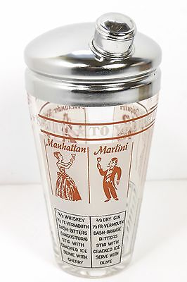 Glass And Chrome Vintage Barware Cocktail Shaker With Graphics And Recipes EX++