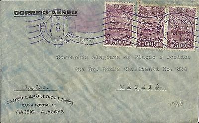 Brazil 1933 Air Mail Cover To Maceio, Estado De Alagoas Used (A)