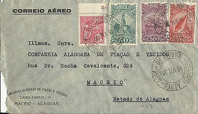 Brazil 1933 Air Mail Cover To Maceio, Estado De Alagoas Used (D)