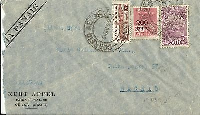 Brazil 1933 Air Mail Cover To Maceio, Estado De Alagoas Used (F)