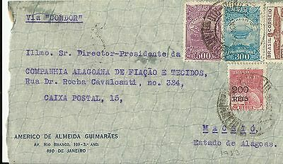 Brazil 1933 Air Mail Cover To Maceio, Estado De Alagoas Used (B)