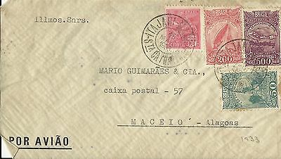 Brazil 1933 Air Mail Cover To Maceio, Estado De Alagoas Used (C)
