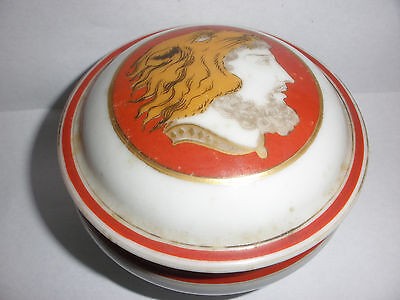 Rare antique 1800`s French covered porcelain jar box hercules wearing tiger hat