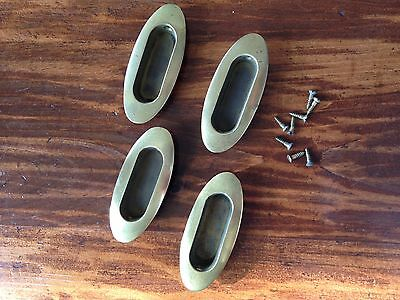 Four Vintage Antique Brass Window Sash Door Pulls Finger Lift Handle Plate