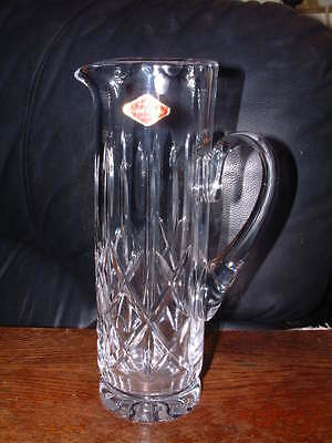 """COLLECTABLE ROYAL BRIERLEY CUT CRYSTAL 9.5"""" TALL WATER JUG & Label 3"""" diam"""