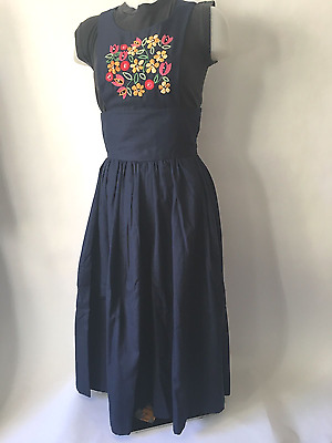 Vintage Blue Handmade Playsuit Jumpsuit Palazzo Culotts Pants Embroidered W SM