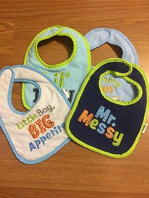 Bibs For Baby Boy - Lot Of 4 - Terrycloth