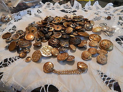 Estate Find VintageCollectibles Mixed  Brass & Silvertone Buttons Huge Lot