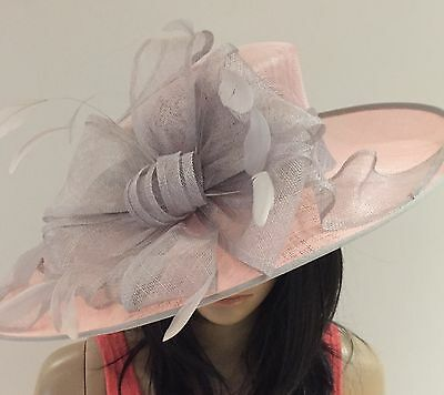Nigel Rayment Pale Pink And Silver Grey Wedding Ascot Hat Mother Of The Bride